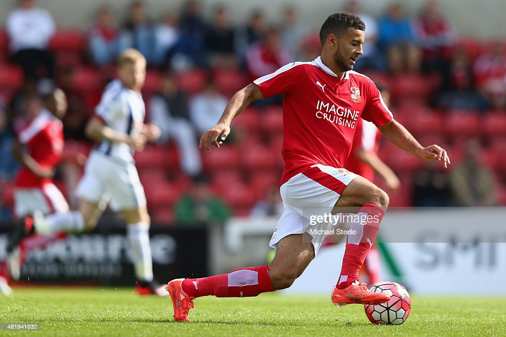 Jon Obika of Swindon Town during the PreSeason Friendly match between Swindon Town and West Bromwich Albion at the County Ground on July 25 2015 in...
