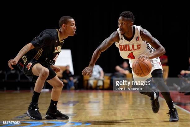 Jon Octeus of the Windy City Bulls dribbles the ball against the Erie BayHawks on March 28 2017 at the Sears Centre Arena in Hoffman Estates Illinois...