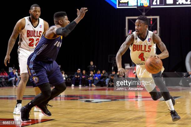 Jon Octeus of the Windy City Bulls drive to the basket against the Iowa Energy on March 23 2017 at the Sears Centre Arena in Hoffman Estates Illinois...