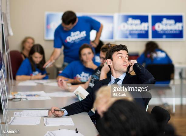 Jon Ossoff Democratic candidate for Georgia's 6th Congressional district makes calls to voters in his Marietta Ga campaign office on special election...