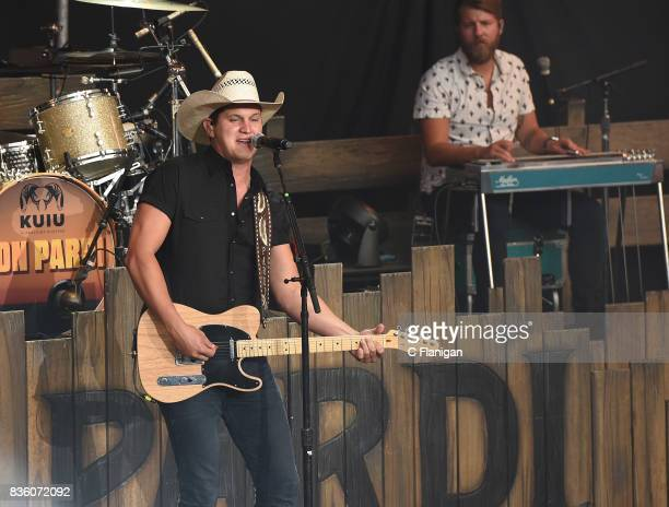 Jon Pardi performs during the 'What The Hell' world tour at Shoreline Amphitheatre on August 20 2017 in Mountain View California