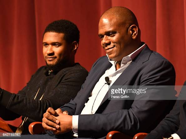 Jon Platt and Usher Raymond attends Morehouse College 150th Anniversary 'Reflections of Excellence' at Ray Charles Performing Arts Center at...