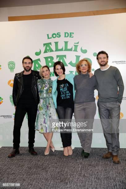 Jon Plazaola Maria Leon Nerea Garmendia Elena Irureta and Gorka Otxoa attend the presentation of the third season of 'Alli Abajo' on March 15 2017 in...