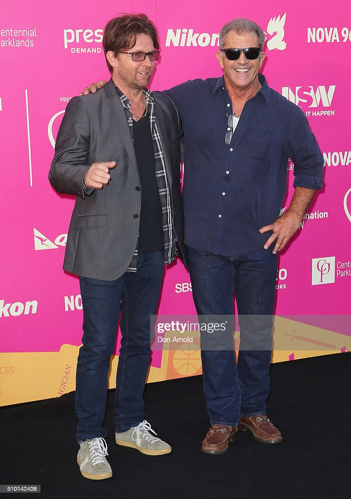 Jon Polson and <a gi-track='captionPersonalityLinkClicked' href=/galleries/search?phrase=Mel+Gibson&family=editorial&specificpeople=201512 ng-click='$event.stopPropagation()'>Mel Gibson</a> arrive ahead of Tropfest 2016 at Centennial Park on February 14, 2016 in Sydney, Australia.