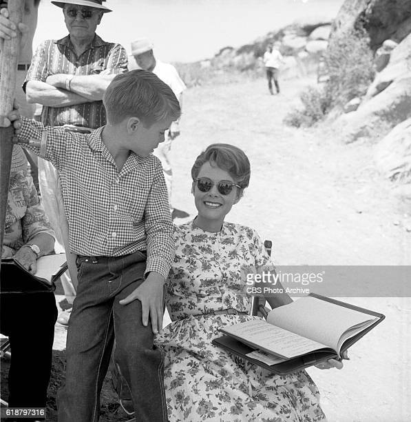 Jon Provost with June Lockhart behind the scenes of the CBS television show Lassie episode Lassie to the Rescue Image dated June 25 1963 Burbank CA
