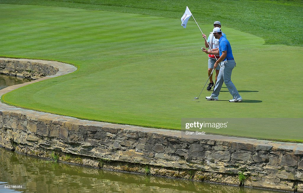 Jon Rahm acknowledges the gallery on the sixth hole during the second round of the Quicken Loans National at Congressional Country Club (Blue) on June 24, 2016 in Bethesda, Maryland.
