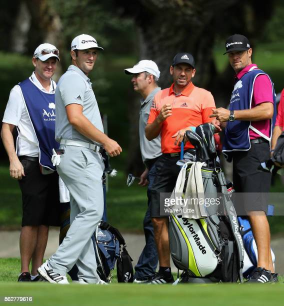 Jon Rahm and Sergio Garcia of Spain chat during the pro am ahead of the Andalucia Valderrama Masters at Real Club Valderrama on October 18 2017 in...