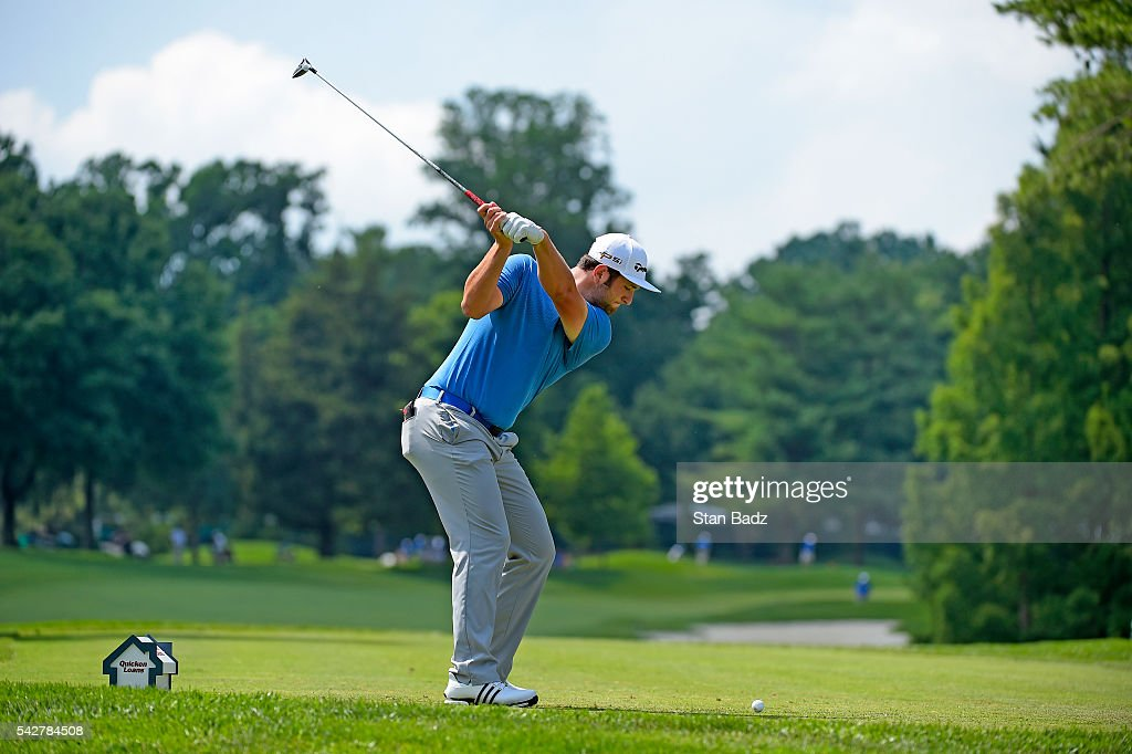 Jon Rahm hits a drive on the eighth hole during the second round of the Quicken Loans National at Congressional Country Club (Blue) on June 24, 2016 in Bethesda, Maryland.
