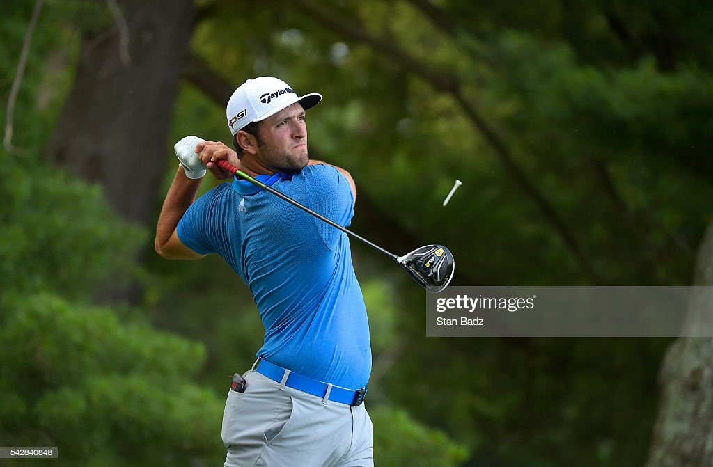 Jon Rahm hits a drive on the third hole during the second round of the Quicken Loans National at Congressional Country Club (Blue) on June 24, 2016 in Bethesda, Maryland.