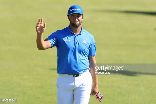 Jon Rahm of Spain acknowledges the crowd on the 18th green during day three of the Dubai Duty Free Irish Open at Portstewart Golf Club on July 8 2017...