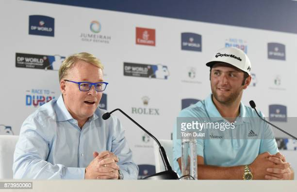 Jon Rahm of Spain and European Tour Chief Executive Keith Pelley speak to the media during a press conference prior to the DP World Tour Championship...