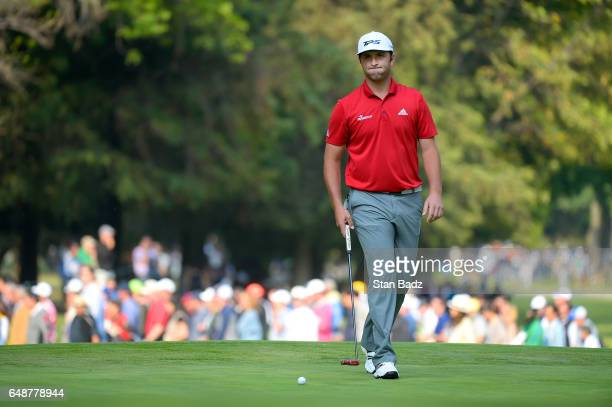 Jon Rahm of Spain approaches his putt on the 16th hole during the final round of the World Golf ChampionshipsMexico Championship at Club de Golf...