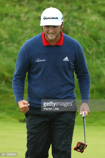 Jon Rahm of Spain celebrates an eagle on the 14th hole during the final round of the Dubai Duty Free Irish Open at Portstewart Golf Club on July 9...