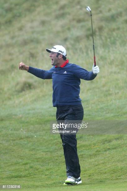 Jon Rahm of Spain celebrates holing his third shot on the 4th hole for an eagle during the final round of the Dubai Duty Free Irish Open at...