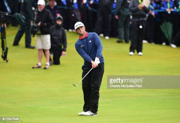 Jon Rahm of Spain chips towards the 18th green during the final round of the Dubai Duty Free Irish Open hosted by the Rory Foundation at Portstewart...