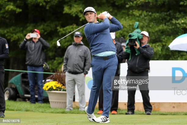 Jon Rahm of Spain hits from the 1st tee during the third round of the Dell Technologies Championship on September 3 at TPC Boston in Norton...