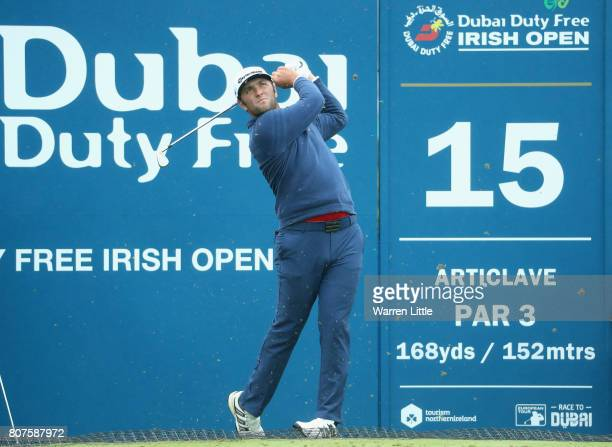 Jon Rahm of Spain in action during previews ahead of the Dubai Duty Free Irish Open at Portstewart Golf Club on July 4 2017 in Londonderry Northern...