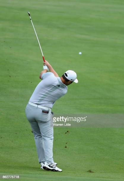 Jon Rahm of Spain in action during the pro am ahead of the Andalucia Valderrama Masters at Real Club Valderrama on October 18 2017 in Cadiz Spain