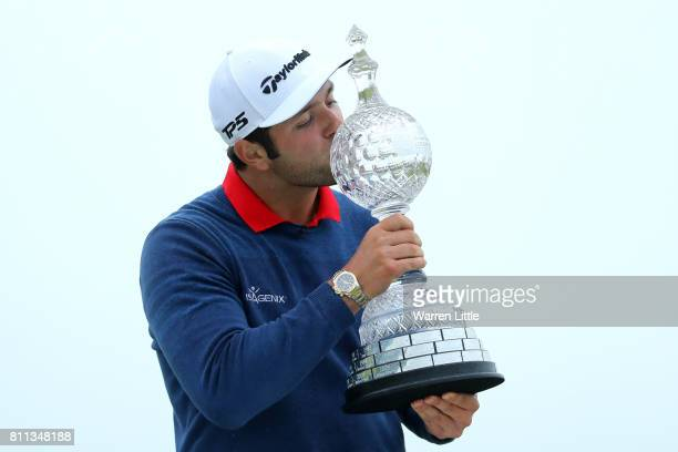 Jon Rahm of Spain kisses the trophy after his victory during the final round of the Dubai Duty Free Irish Open at Portstewart Golf Club on July 9...
