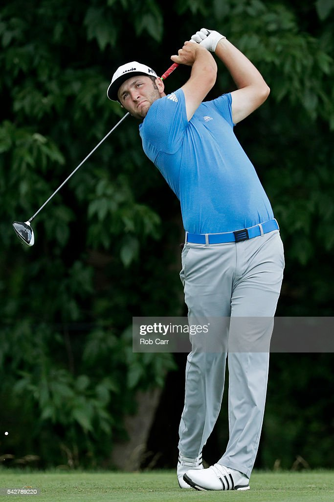 Jon Rahm of Spain plays a shot from the sixth tee during the second round of the Quicken Loans National at Congressional Country Club on June 24, 2016 in Bethesda, Maryland.