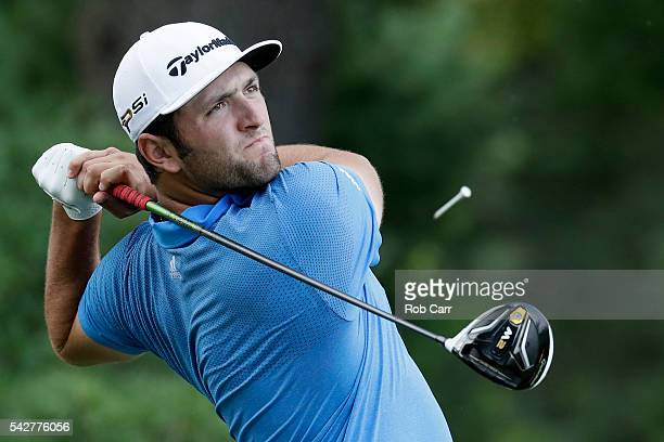 Jon Rahm of Spain plays a shot from the third tee during the second round of the Quicken Loans National at Congressional Country Club on June 24 2016...