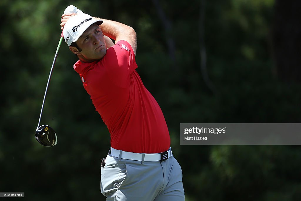 Jon Rahm of Spain plays a shot from the third tee during the third round of the Quicken Loans National at Congressional Country Club on June 26, 2016 in Bethesda, Maryland.