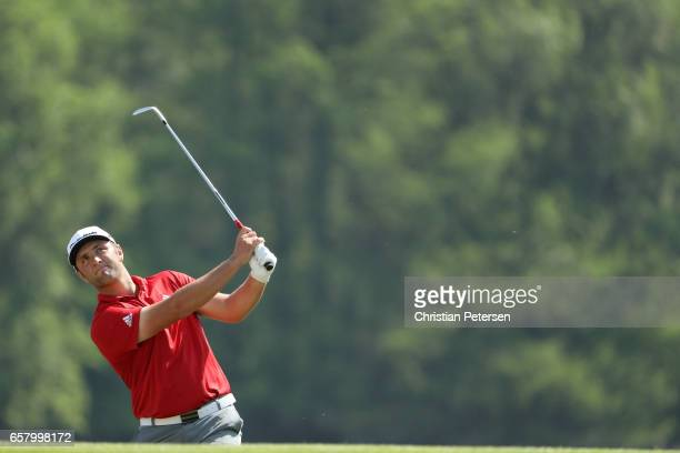 Jon Rahm of Spain plays a shot on the 14th hole of his match during the semifinals of the World Golf ChampionshipsDell Technologies Match Play at the...