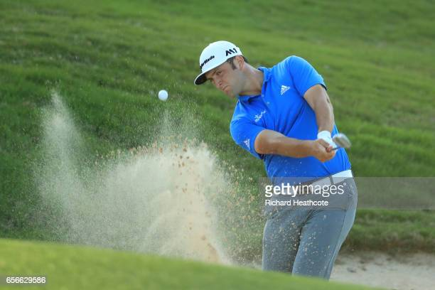 Jon Rahm of Spain plays a shot out of a bunker on the 16th hole of his match during round one of the World Golf ChampionshipsDell Technologies Match...