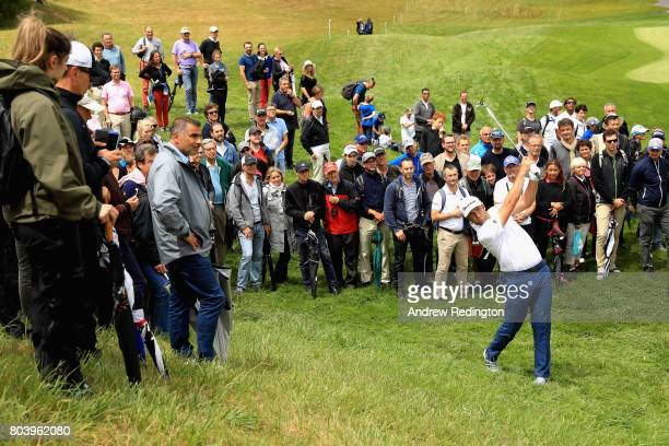 Jon Rahm of Spain plays his second shot on the 4th during day two of the HNA Open de Feance at Le Golf National on June 30 2017 in Paris France