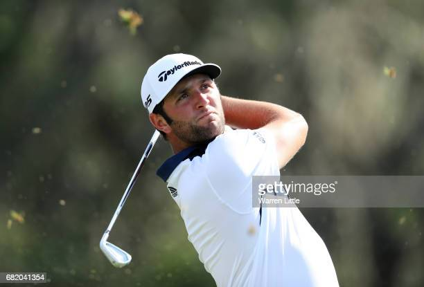 Jon Rahm of Spain plays his shot from the 12th tee during the first round of THE PLAYERS Championship at the Stadium course at TPC Sawgrass on May 11...