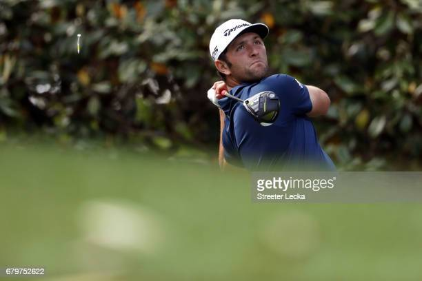 Jon Rahm of Spain plays his shot from the 14th tee during round three of the Wells Fargo Championship at Eagle Point Golf Club on May 6 2017 in...