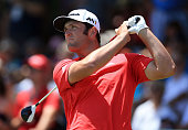 Jon Rahm of Spain plays his shot from the first tee during the third round of the RBC Canadian Open at Glen Abbey Golf Club on July 23 2016 in...