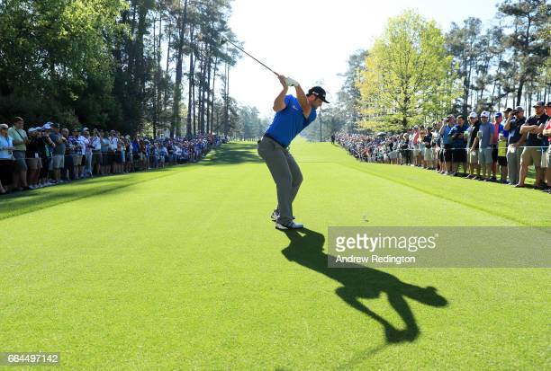 Jon Rahm of Spain plays his shot from the seventh tee during a practice round prior to the start of the 2017 Masters Tournament at Augusta National...