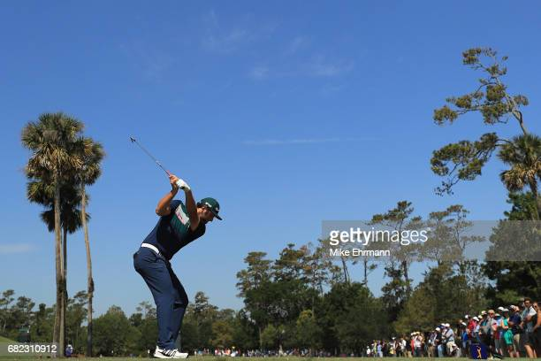 Jon Rahm of Spain plays his shot from the third tee during the second round of THE PLAYERS Championship at the Stadium course at TPC Sawgrass on May...