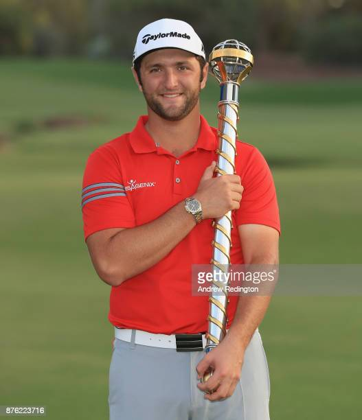 Jon Rahm of Spain poses with the trophy after winning the DP World Tour Championship at Jumeirah Golf Estates on November 19 2017 in Dubai United...