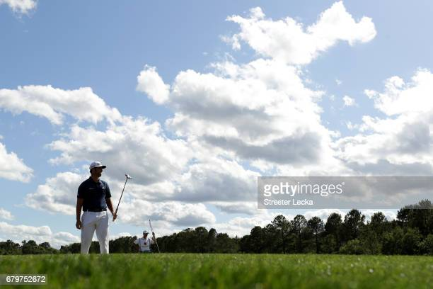 Jon Rahm of Spain putts on the 13th green during round three of the Wells Fargo Championship at Eagle Point Golf Club on May 6 2017 in Wilmington...