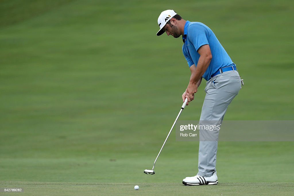 Jon Rahm of Spain putts on the fifth green during the second round of the Quicken Loans National at Congressional Country Club on June 24, 2016 in Bethesda, Maryland.