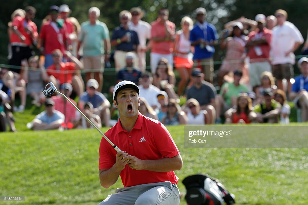 Jon Rahm of Spain reacts after missing a putt for birdie on the 15th green during the final round of the Quicken Loans National at Congressional Country Club on June 26, 2016 in Bethesda, Maryland.