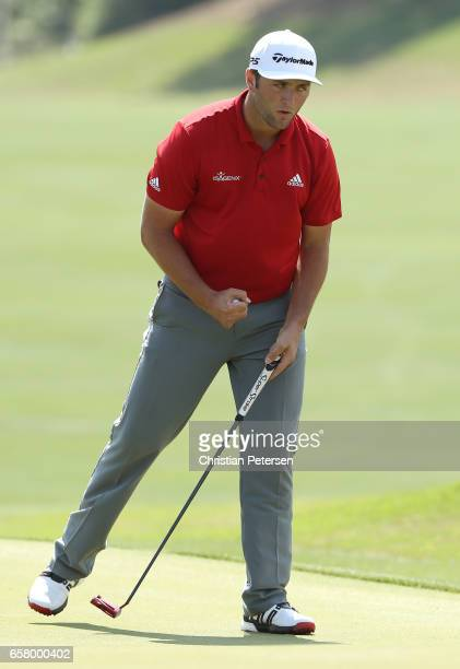 Jon Rahm of Spain reacts after putting on the 15th hole of his match during the semifinals of the World Golf ChampionshipsDell Technologies Match...