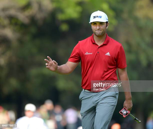 Jon Rahm of Spain reacts to his putt on the 16th hole during the final round of the World Golf ChampionshipsMexico Championship at Club de Golf...