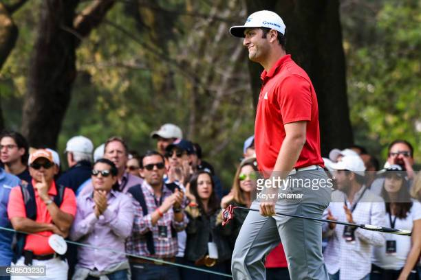 Jon Rahm of Spain reacts to his putt on the 16th hole green during the final round of the World Golf ChampionshipsMexico Championship at Club de Golf...