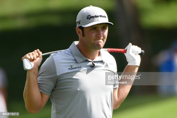 Jon Rahm of Spain reacts to his second shot on the 18th hole during the third round of the 2017 PGA Championship at Quail Hollow Club on August 12...