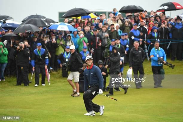 Jon Rahm of Spain reacts to nearly chipping in on the 18th green during the final round of the Dubai Duty Free Irish Open at Portstewart Golf Club on...