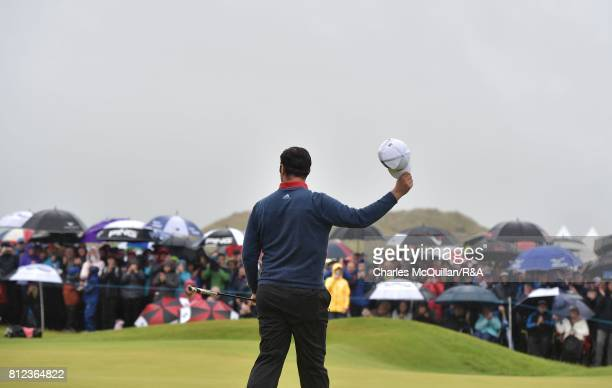 Jon Rahm of Spain reacts to the crowd on the 18th green after winning the Dubai Duty Free Irish Open hosted by the Rory Foundation at Portstewart...