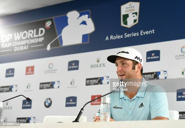 Jon Rahm of Spain speaks to the media during a press conference prior to the DP World Tour Championship at Jumeirah Golf Estates on November 14 2017...