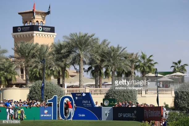 Jon Rahm of Spain tees off on the 10th hole during the final round of the DP World Tour Championship at Jumeirah Golf Estates on November 19 2017 in...