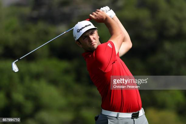 Jon Rahm of Spain tees off on the 13th hole of his match during the semifinals of the World Golf ChampionshipsDell Technologies Match Play at the...