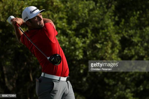 Jon Rahm of Spain tees off on the 15th hole during the final match of the World Golf ChampionshipsDell Technologies Match Play at the Austin Country...