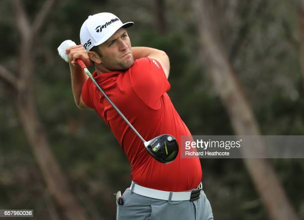 Jon Rahm of Spain tees off on the 2nd hole of his match during the semifinals of the World Golf ChampionshipsDell Technologies Match Play at the...