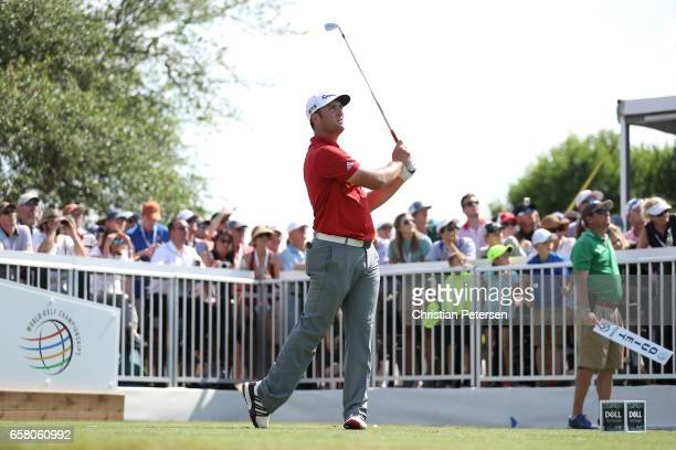 Jon Rahm of Spain tees off on the 7th hole during the final match of the World Golf ChampionshipsDell Technologies Match Play at the Austin Country...